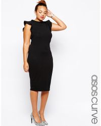 Asos Curve Body-Conscious Dress With Frill Sleeve - Lyst