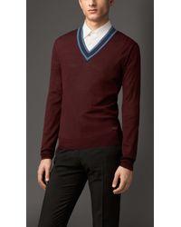 Burberry Military Ribbon Stripe Wool Silk Sweater - Lyst
