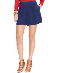 Lauren by Ralph Lauren Petite Silk Pleated Shorts - Lyst