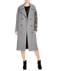 DKNY - Sequined Sleeve Coat - Lyst