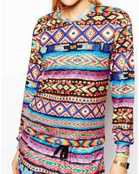 Jaded London - Sweatshirt With Aztec Festival Print - Lyst