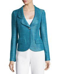 St. John Multi-Tonal Sateen Knit Jacket - Lyst
