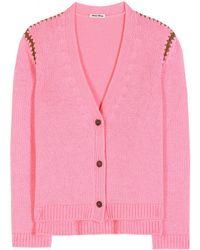Miu Miu Pink Cashmere Cardigan - Lyst