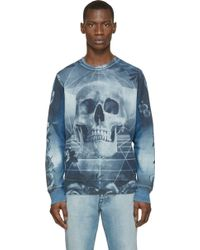Diesel Blue Skull S_Dimitra Sweatshirt blue - Lyst