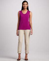 White + Warren - White Warren Silk Blend Slim Pants Khaki 12 - Lyst