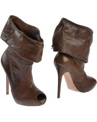 Alexander McQueen Brown Ankle Boots - Lyst