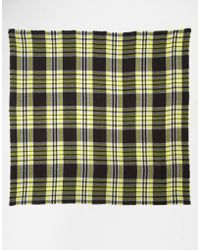Asos Oversized Check Scarf yellow - Lyst