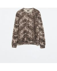 Zara Gray Printed Sweatshirt - Lyst