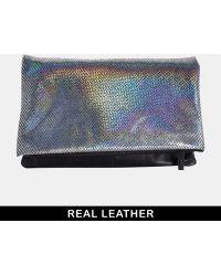 Urbancode - Leather Black Two Way Foldover Clutch Bag - Lyst