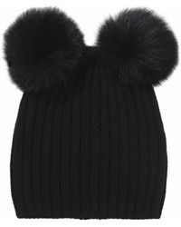 Helene Berman Double Pom Pom Beanie Hat - Lyst