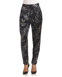 By Malene Birger Silk Printed Pants - Lyst