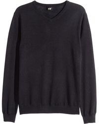 H&M   Merino Wool V-neck Jumper   Lyst