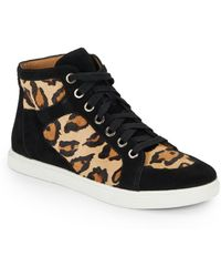 Enzo Angiolini Sovann Leopard Print Calf Hair  Suede High Top Sneakers - Multicolor