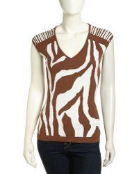 Lafayette 148 New York Capsleeve Zebra Jacquard Sweater - Lyst