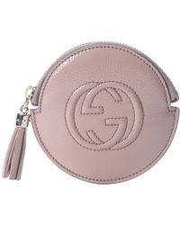 Gucci Pink Shiny Leather Circular Zip Around Coin Purse - Lyst