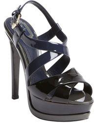 Dior Black Colorblock Patent Leather Peep Toe Platform Sandals - Lyst