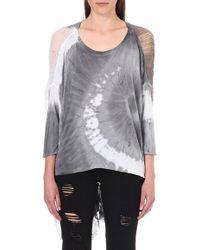 Raquel Allegra Shreddeddetail Jersey Top Spiral Grey and White - Lyst