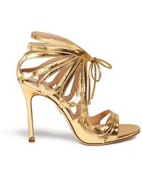Chelsea Paris 'Ada' Mirror Leather Caged Sandal Booties gold - Lyst