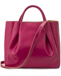Alexandra De Curtis Pink Leather Maxi Ruched Tote purple - Lyst