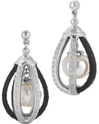 Charriol Diamond/Cable Pearl-Drop Cage Earrings - Lyst