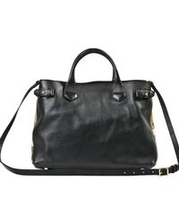 Burberry House Check Black Leather Bag - Lyst