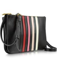 Sonia Rykiel Lucien Black Striped Leather Crossbody Bag - Lyst