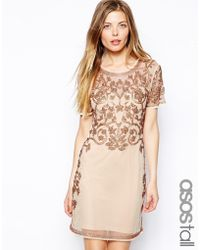 Asos Tall Baroque Embellished Shift Dress - Lyst