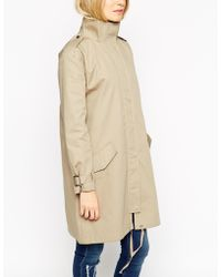 Asos Parka In Trapeze Fit With Funnel Neck - Lyst