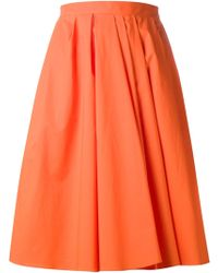 Carven Orange Flared Skirt - Lyst