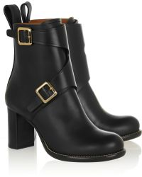 Chloé Buckled Leather Ankle Boots - Lyst