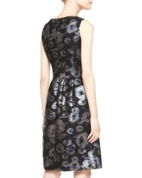 Lela Rose Sleeveless Metallic Tweed Dress - Lyst