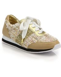 Kate Spade Sidney Mixed-Media Sneakers brown - Lyst