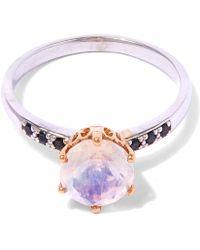 Anna Sheffield - White Gold Rainbow Moonstone Hazeline Solitaire Ring - Lyst