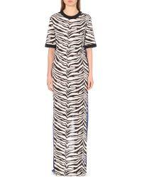 Emanuel Ungaro Zebra-Print Crepe Gown - Lyst