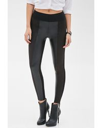 Forever 21 Faux Leather & Faux Suede Pants - Lyst