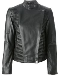 Paul Smith Black Label Woven Panel Leather Jacket - Lyst