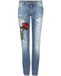 Dolce & Gabbana Embroidered Distressed Jeans - Blue
