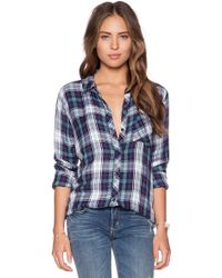 Rails Hunter Plaid Crepe Shirt blue - Lyst