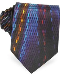 Vitaliano Pancaldi - Geometric And Stripe Print Silk Tie - Lyst