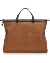 Jimmy Choo - Gable Dark Amber And Rust Double Faced Grainy Goat Leather Tote Bag - Lyst