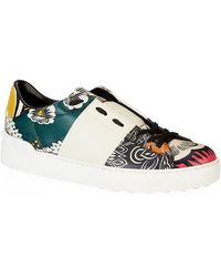 Valentino Printed Leather Open Sneaker multicolor - Lyst