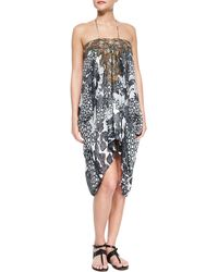 Camilla Sleeveless Lace-Up Printed Coverup - Lyst