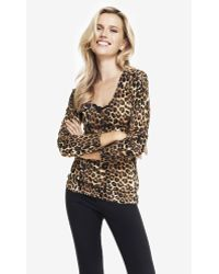 Express Leopard Print Fitted V-Neck Sweater - Lyst