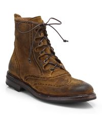 Ralph Lauren Macomb Distressed Leather Boots - Lyst