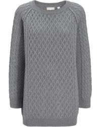 Chinti And Parker Grey Merino Oversize Aran Jumper - Lyst