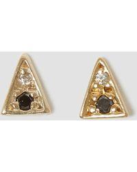 Mociun - Black & White Diamond Triangle Studs Black & White - Lyst