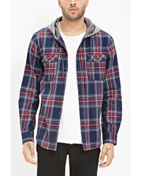 Forever 21 - Hooded Plaid Flannel Shirt You've Been Added To The Waitlist - Lyst