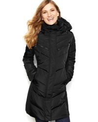 Calvin Klein Hooded Quilted Colorblock Puffer Coat - Lyst