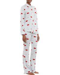 Piamita - Piped Lipsprint Isabella Pyjama Shirt - Lyst