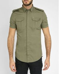 DIESEL | Khaki Haul-short Short-sleeve Shirt With Patch Pockets | Lyst